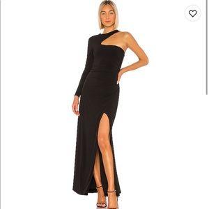 BCBG one shoulder gown size sm long sleeve black